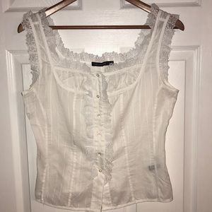 THE LIMITED WHITE SLEEVELESS BLOUSE